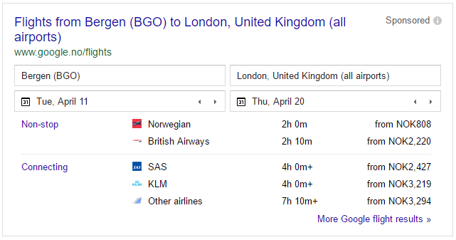 Get cheap flight tickets with google