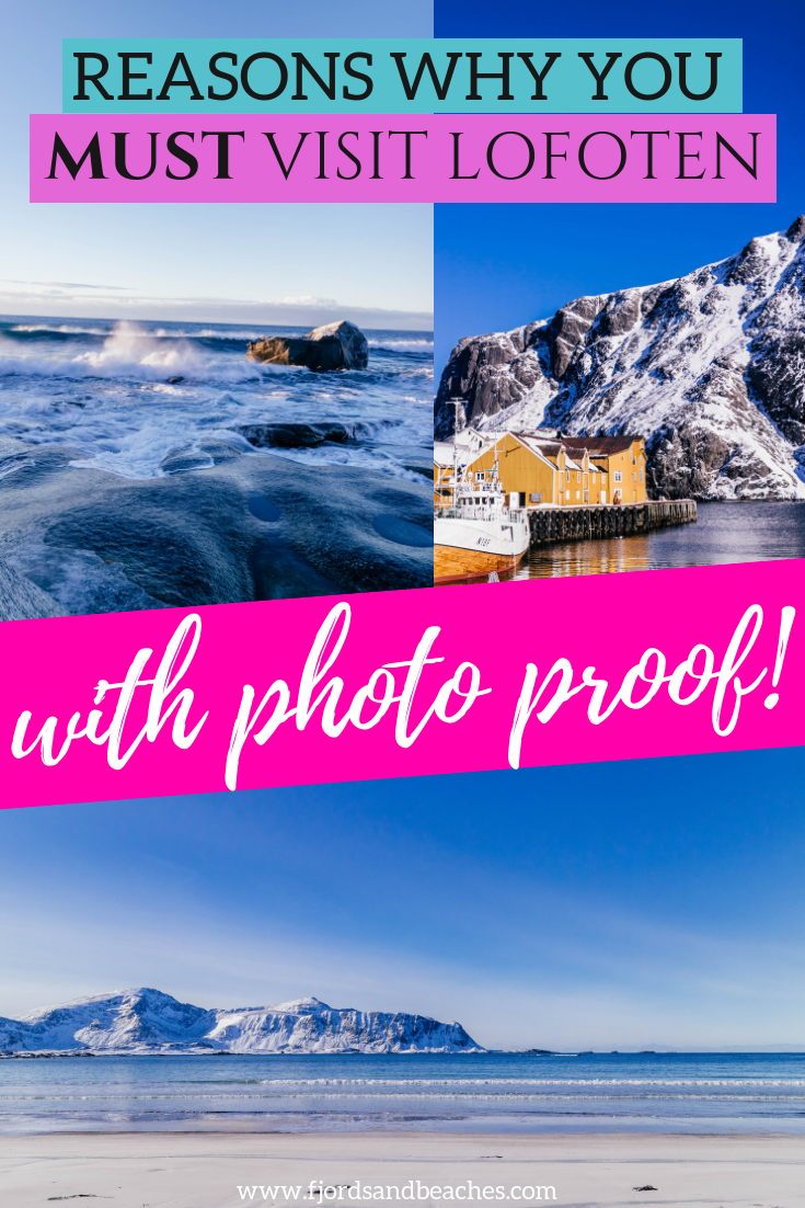 23 reasons you MUST visit Lofoten (in general, but especially in the winter). This post includes a list of the most beautiful places in Lofoten, which all serve as a reason why you need to visit this place in Norway. From beautiful Norwegian houses, stunning nature to the northern lights, what's there to miss? #VisitNorway #Lofoten #Norway #VisitLofoten