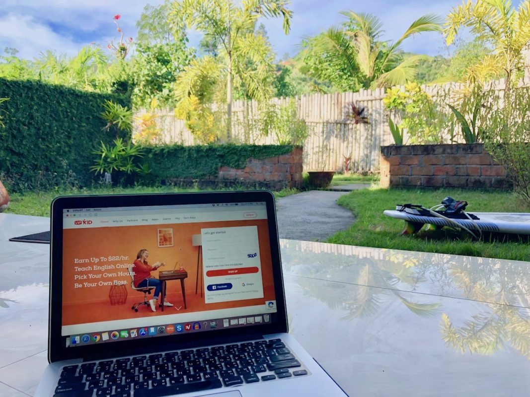 teach english online no degree, computer working remotely