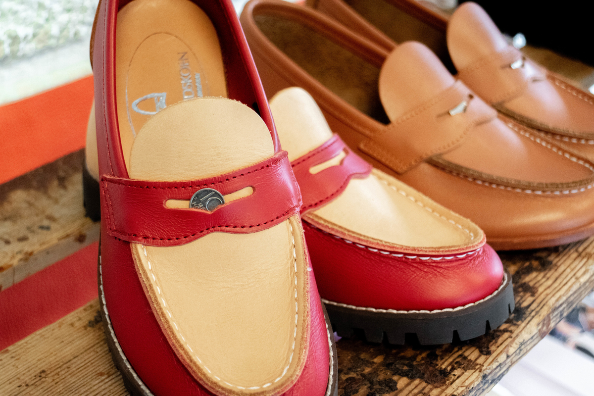 the aurland shoe, red and brown shoes