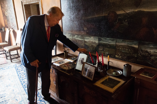 The Count of Castel Valer showing us his photographs