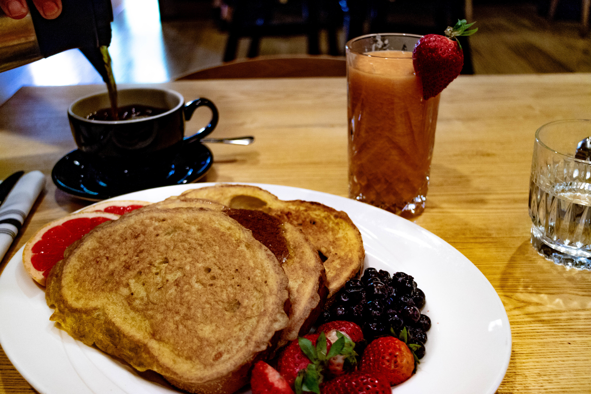 breakfast at the Inn at the forks, winnipeg, manitoba. french toast, fresh juice and coffee