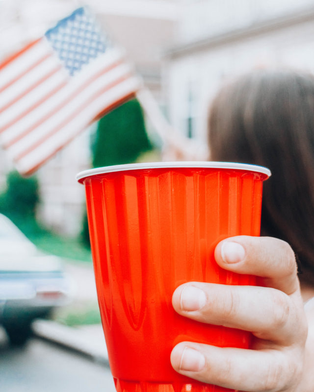 american customs, red solo cup and american flag