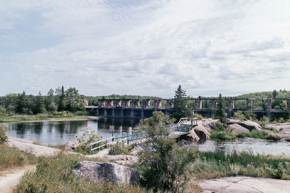 pinawa dam, water and dam, blue skies, winnipeg day trip