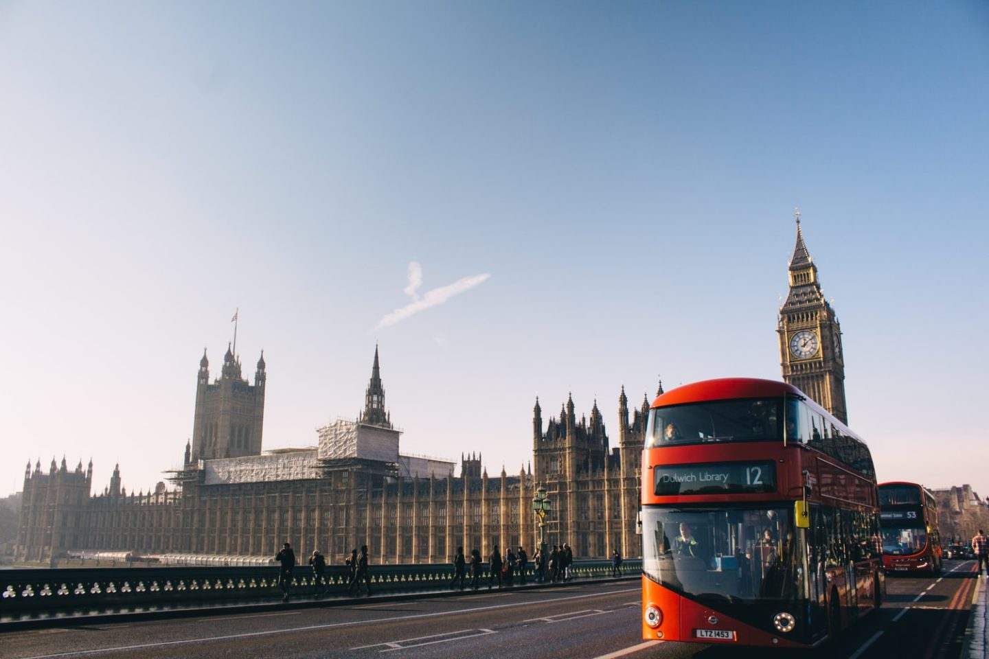 where to visit in london, red double decker by westminster