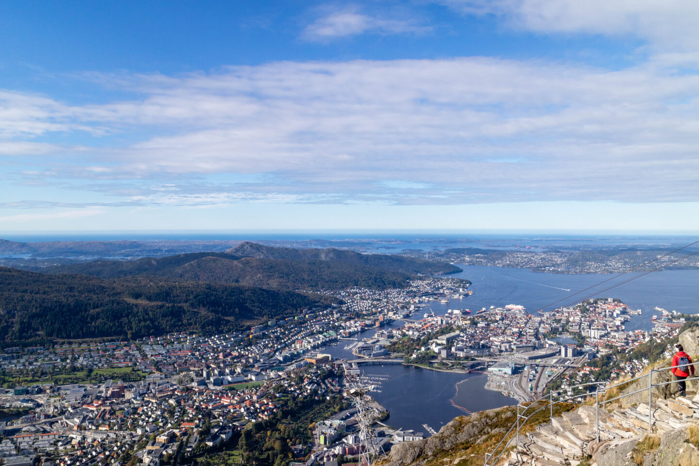 Mount Ulriken, Bergen view from top on a sunny day blue sky